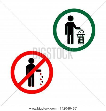 Keep clean icons. Do not litter sign.