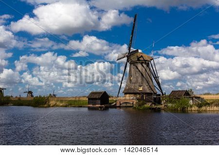 Kinderdijk windmills closed to Roterdam City in Netherlands