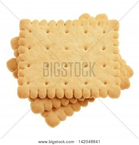 Biscuits Isolated On White Background. Three pieces of cakes.