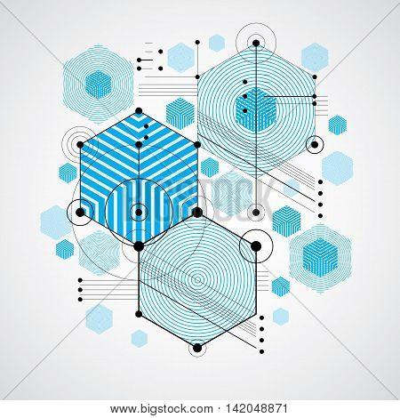 Bauhaus art decorative modular vector backdrop made using striped hexagons and circles.