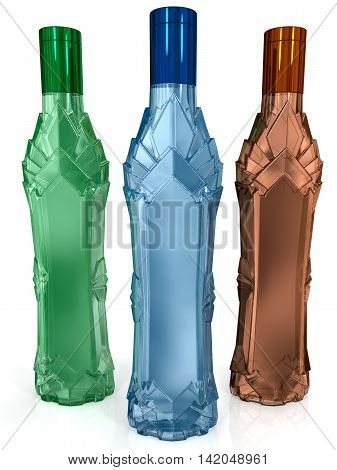 color glass bottles isolated on white background
