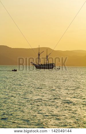 Ocean Sunset with Sailing Boat Komodo Island