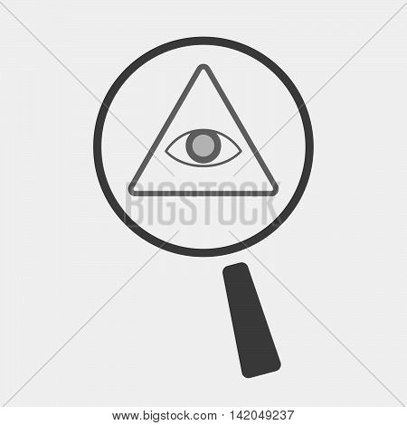 Isolated Magnifier Icon With An All Seeing Eye