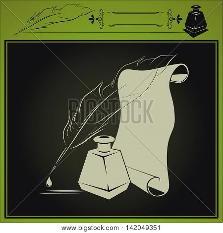 vector illustration with inkstand, pen and paper done in retro style on dark background