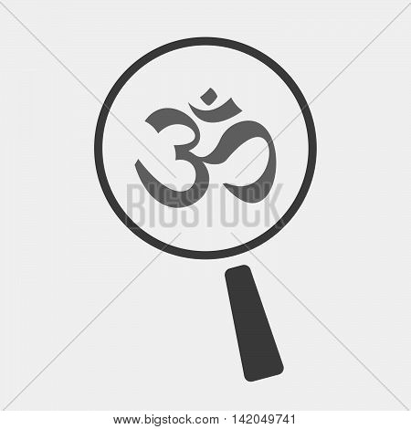 Isolated Magnifier Icon With An Om Sign