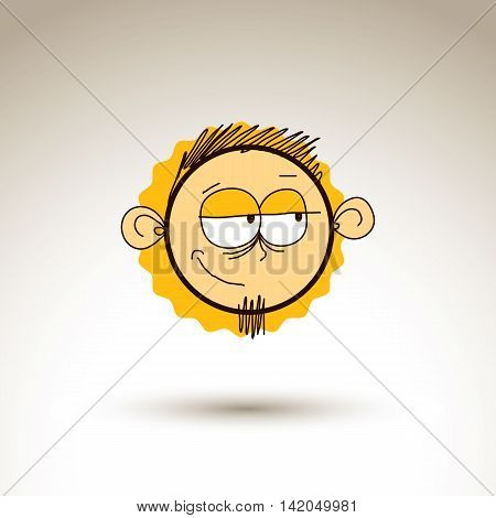 Vector colorful hand drawn illustration of doubtful cartoon boy isolated on white background