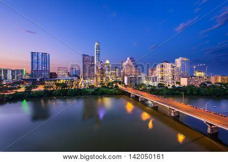 Austin, Texas, USA downtown skyline over the Colorado RIver.