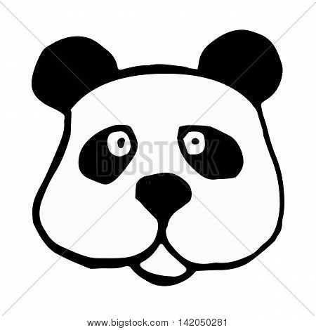 panda icon isolated on white background in style hand draw