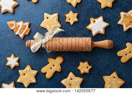 Christmas Cookies And Rolling Pin