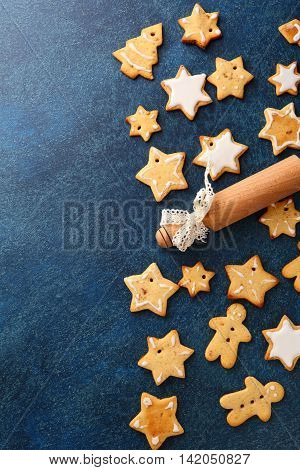 Christmas Gingerbread Cookies And Rolling Pin