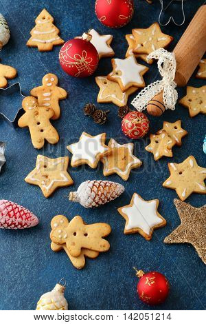 Homemade Christmas Cookies With Ginger And New Year Bauble