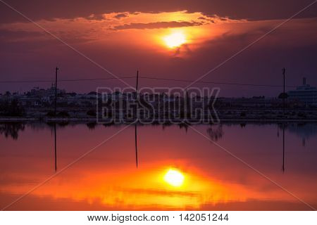 Sunset at Salinas de San Pedro del Pinatar, Spain