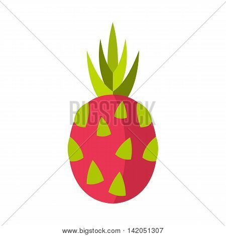 Pitaya, dragon fruit icon in flat style on a white background