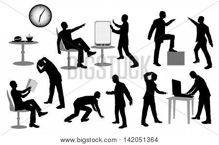 Silhouettes of managers in the office with laptop. Infographics set of business men silhouettes solving problems