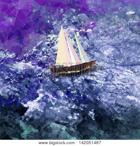 Polygonal background with sea, sailboat and sky. Blue, white and purple water structure with old sailboat