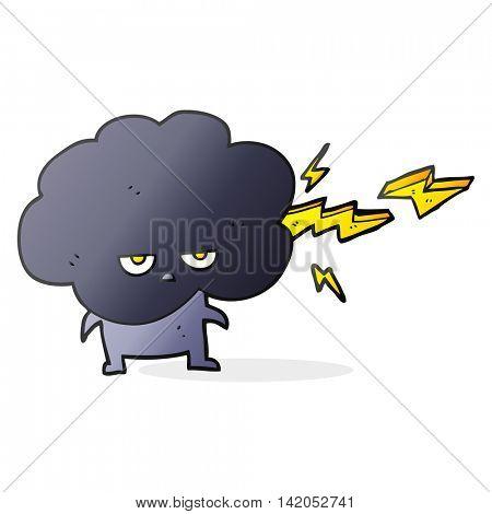 freehand drawn cartoon raincloud character shooting lightning