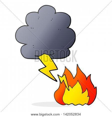 freehand drawn cartoon thundercloud lightning strike