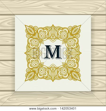 Decorative ornamental frame in vintage style gold black on white or Template  of monogram advertising cosmetic perfumer  clothes or for decorate other things