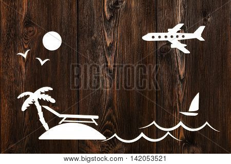 Paper plane sea and island with palm tree. Copy space. Abstract vacation concept