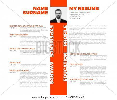 Vector minimalist cv / resume template - minimalistic colorful version with photo stripe  in the middle and nice typography