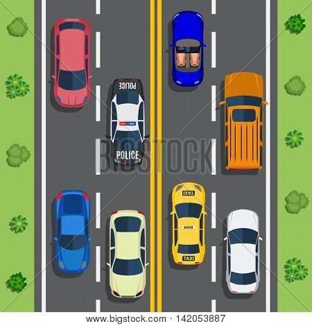 Highway traffic with top view cars and trucks on asphalt road. trees and shrub top view. Vector illustration in flat design