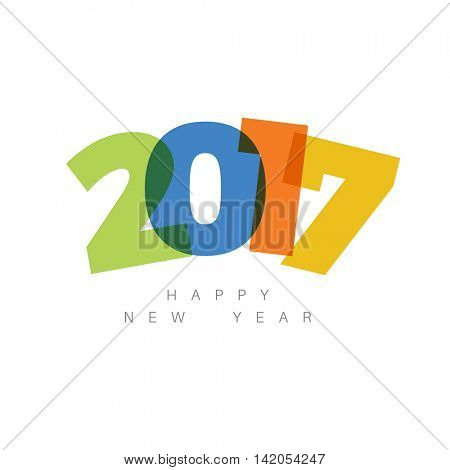 Vector Modern minimalistic Happy new year card (2017) with a big numbers and flat overlay effect
