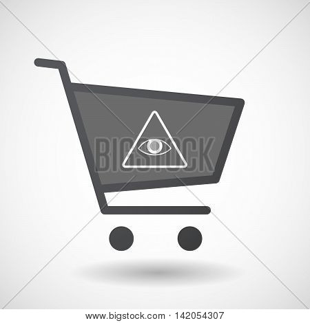 Isolated Shopping Cart Icon With An All Seeing Eye