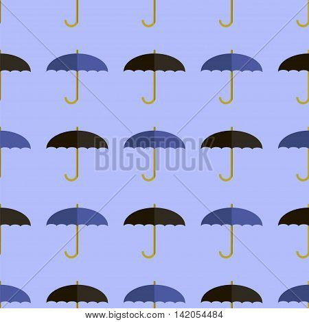 Vector Black Blue Umbrella Seamless Pattern. Umbrellas Background