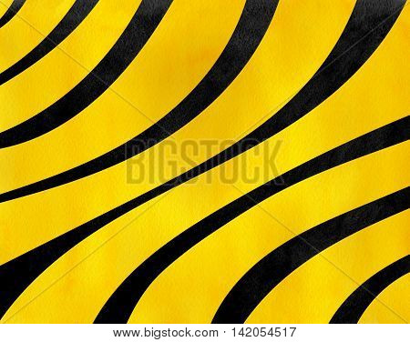 Watercolor Black And Yellow Striped Background.
