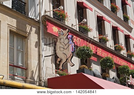 PARIS, FRANCE - AUGUST 5, 2016: overlooking the rack shield of a restaurant in Paris 1st arrondissement near les Halles