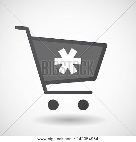 Isolated Shopping Cart Icon With An Asterisk