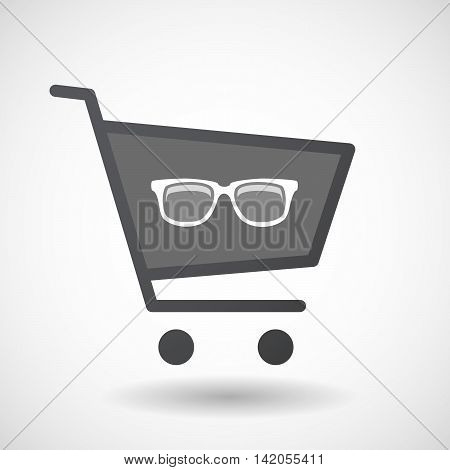 Isolated Shopping Cart Icon With A Glasses