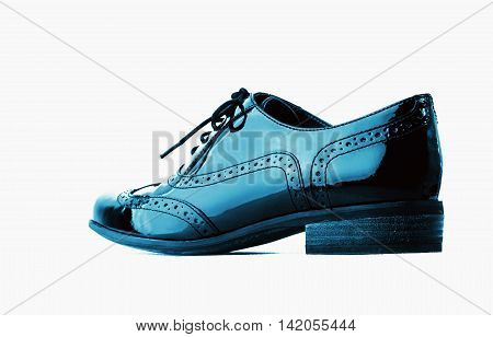 Footwear Concept. Horizontal Image. Pair of blue female classic leather shoes isolated on the white background.