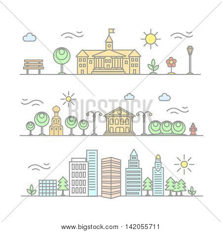 linear city illustration in trendy style, mono line buildings and houses with parks and gardens