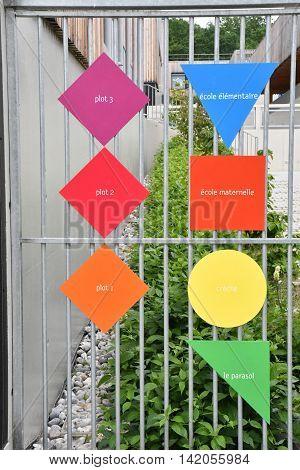 Les Mureaux France - june 10 2016 : signs of a modern school