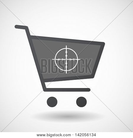 Isolated Shopping Cart Icon With A Crosshair