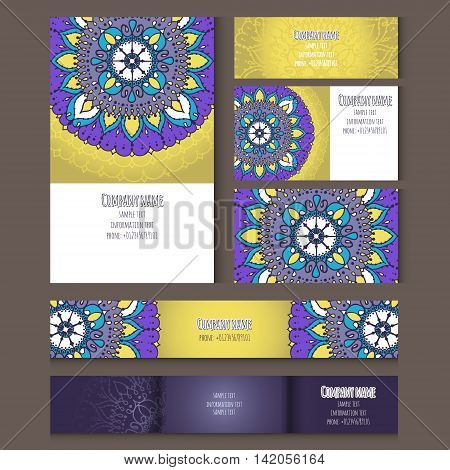 Set of templates for business style envelopes notebooks invitation card or else with floral ornament. Corporate style with vector mandala.