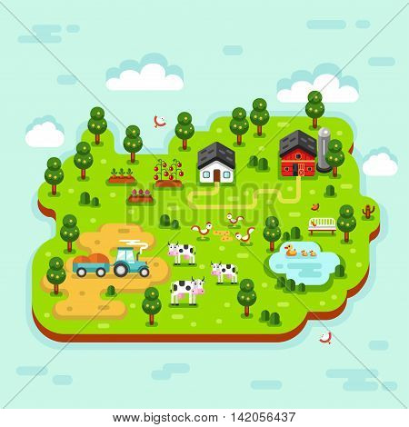 Flat vector isometric 3d rural landscape illustration with farm building, barn, garden, tractor, beds of carrot, tomatoes, cow, duck, pond, chicken. Farming, agricultural, organic products concept.
