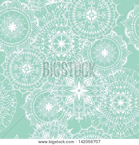 Seamless pattern with circular floral ornament. Round pattern mandala for the greeting cards invitation template for business style wedding cards or else. Vector illustration