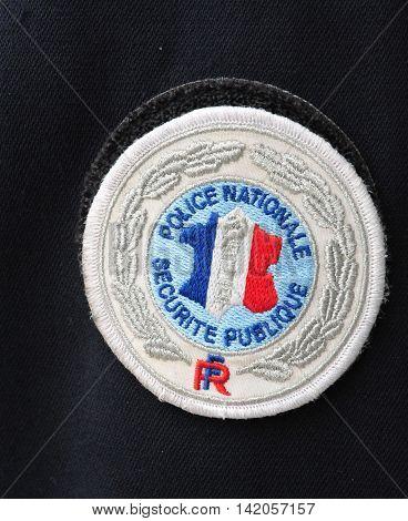 Les Mureaux France - april 8 2016 : close up of policeman uniform