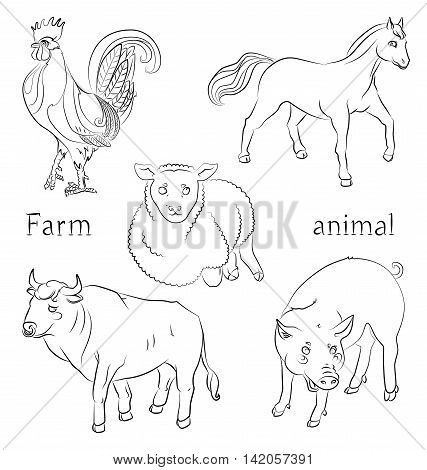 black and white image of a bull pig horse and sheep - suitable for a child's coloring and not only. For your convenience each significant element is in a separate layer. eps10
