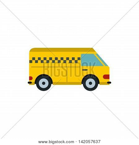 Yellow cargo taxi car icon in flat style on a white background