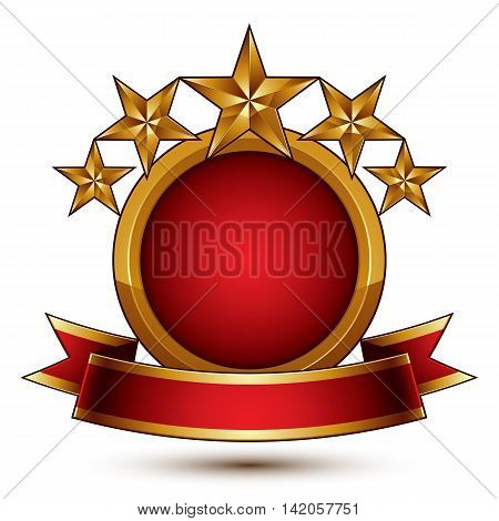 Vector glamorous round element with red filling 3d polished five golden stars