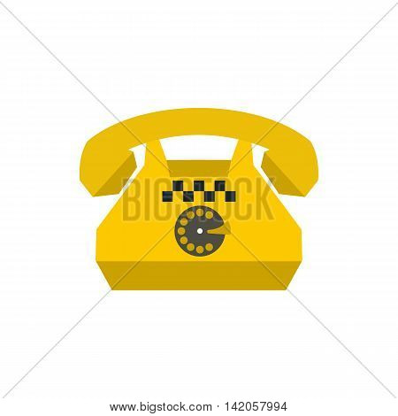 Yellow retro taxi phone icon in flat style on a white background