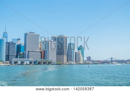 Lower Manhattan and  ferry slips at Battery Maritime Building and Staten Island Ferry Terminal, New York