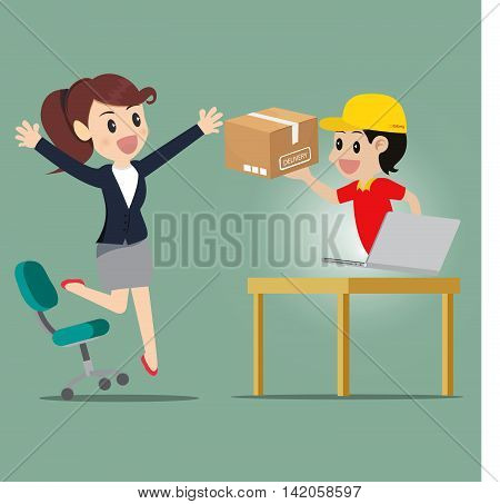 Business woman jump for kind shopping online and receive product delivery.Vector illustration cartoon business concept.