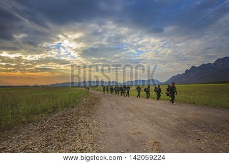 LOPBURI THAILAND-Dec25: thai army soldier practice to long range patrolling across open country of no man land on december252014 in Lopburi Province Thailand