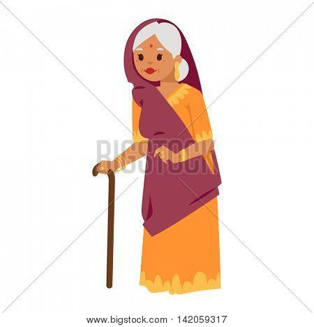 Vector illustration indian grandma