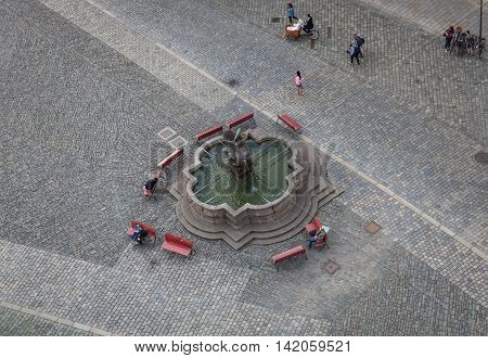 Hercules Fountain On The Square In The City Of Olomouc Offers Relaxation For Visitors And Beautiful