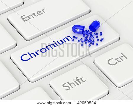 3D Rendering Of Chromium Pill Lying On Keyboard